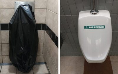 Invention of the Temporary Out-of-Order Toilet and Urinal Covers